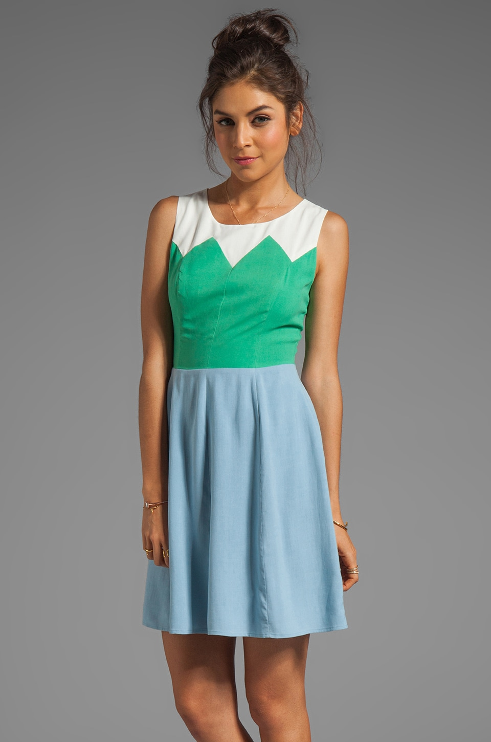 harlyn Blocked Fit & Flare Dress in Vintage Blue/Mint