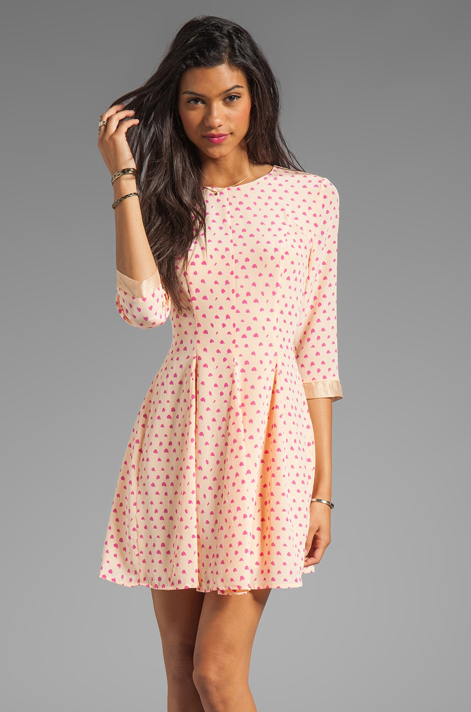 harlyn Fit & Flare Dress in Peach Dot