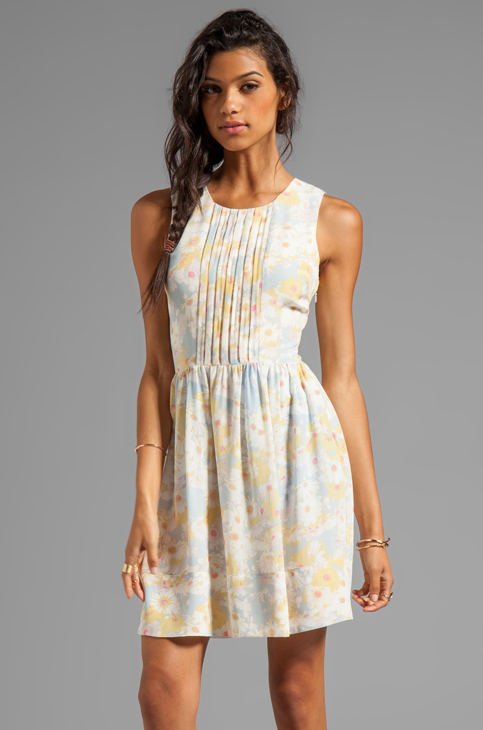 harlyn Pleated Dress in Vintage Blue Floral