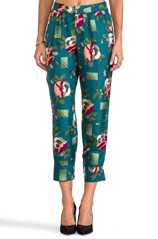 harlyn Peg Leg Trouser in Teal Floral