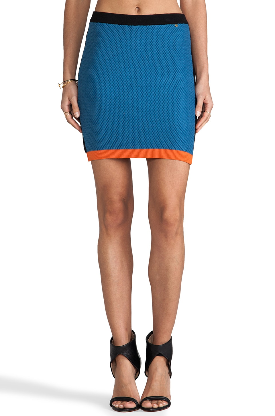 harlyn Blocked Knitted Skirt in Denim & Black & Tangerine