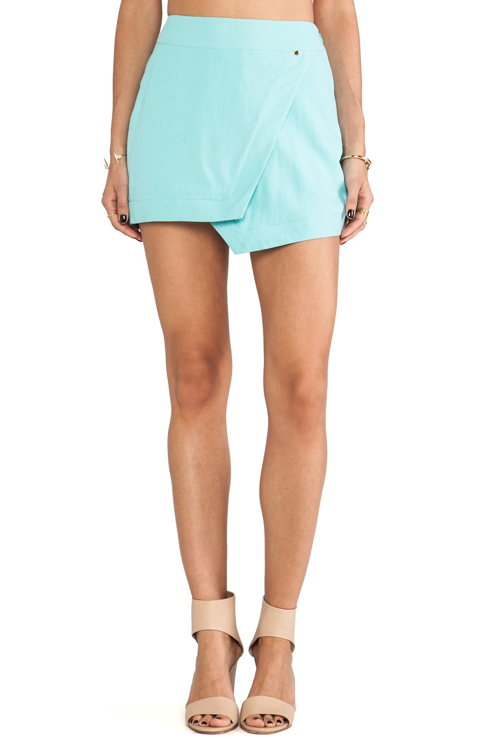 harlyn Wrap Mini Skirt in Aqua