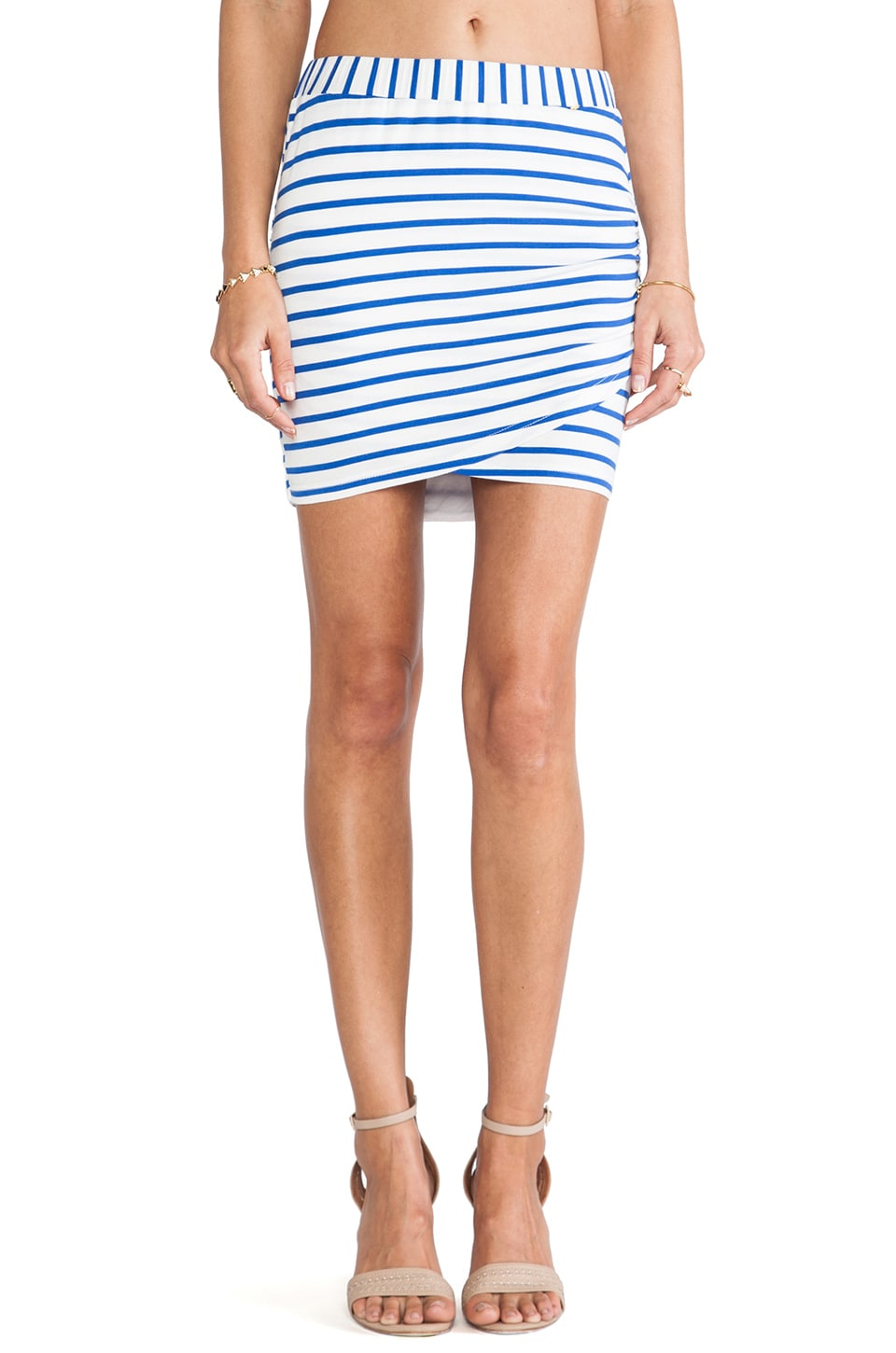 harlyn Stipped Wrap Skirt in Cobalt & White