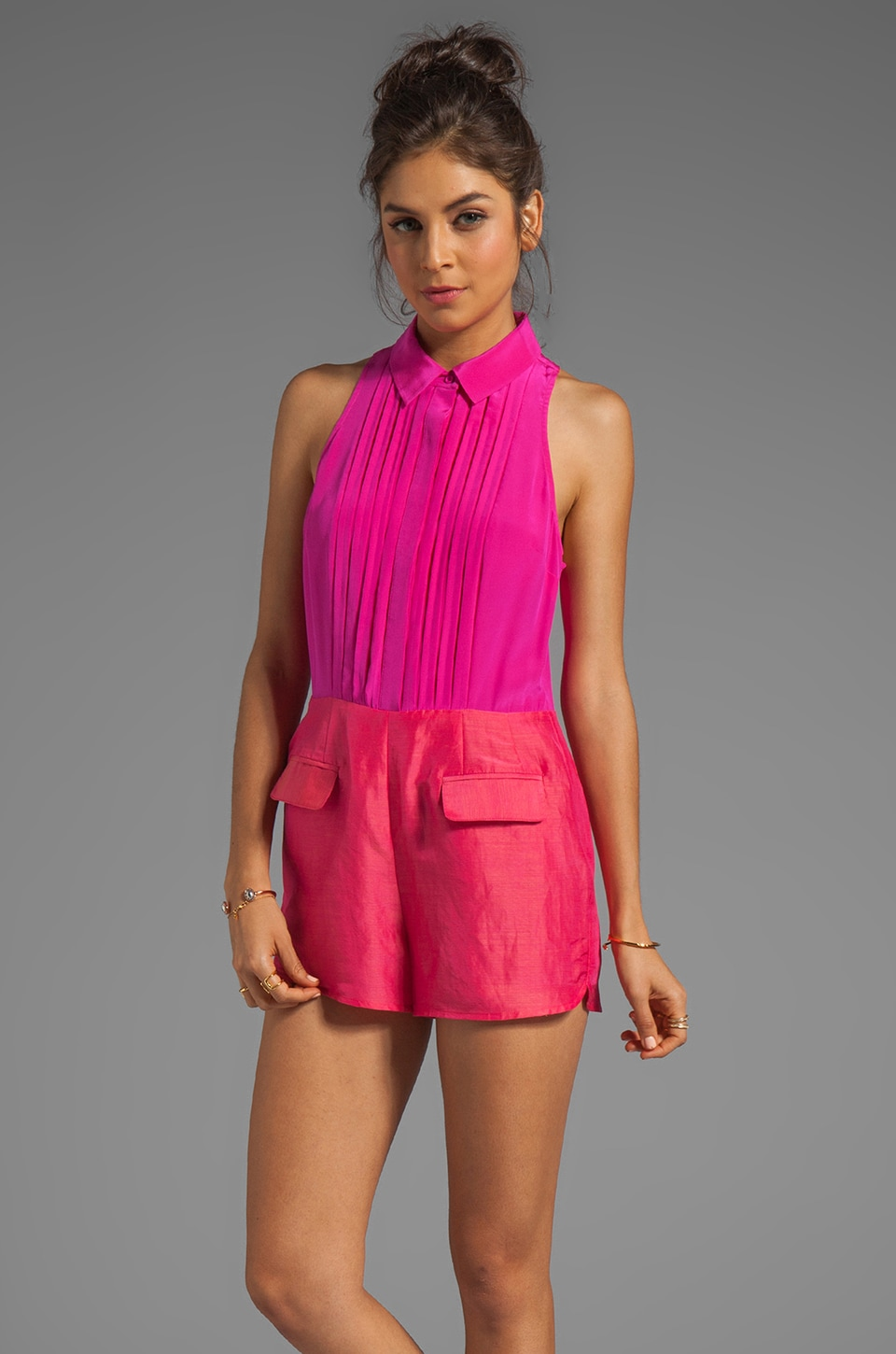 harlyn Collared Strappy Romper in Hot Pink
