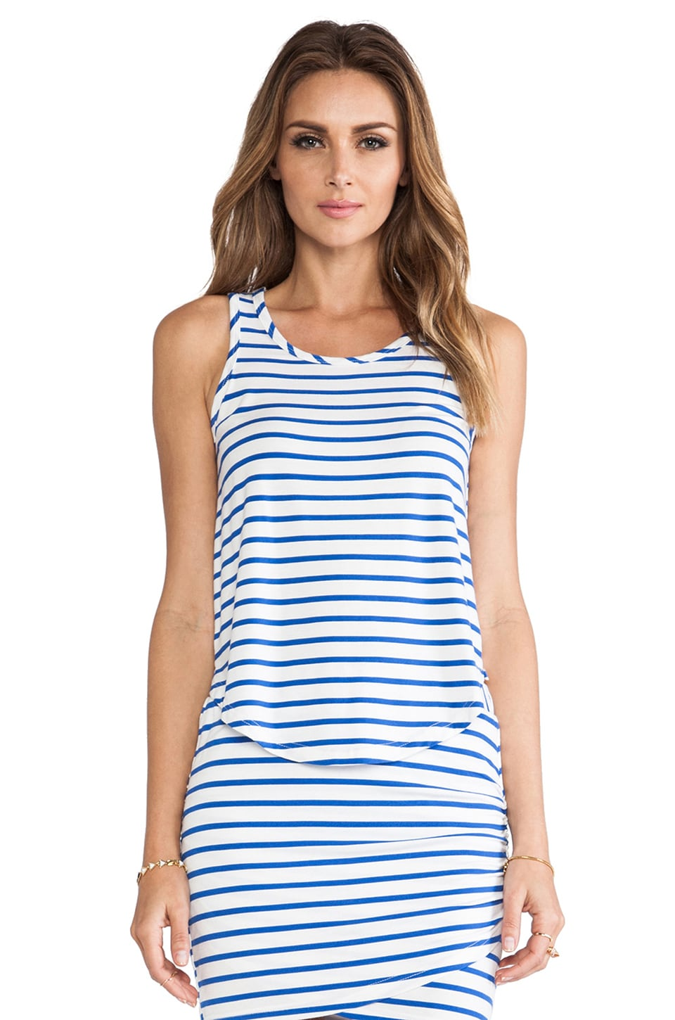 harlyn Stripped Low-High Tank in Cobalt & White