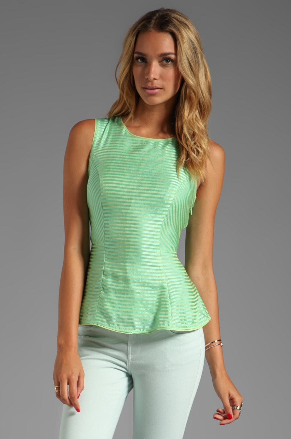 harlyn Peplum Tank in Spearmint Stripe