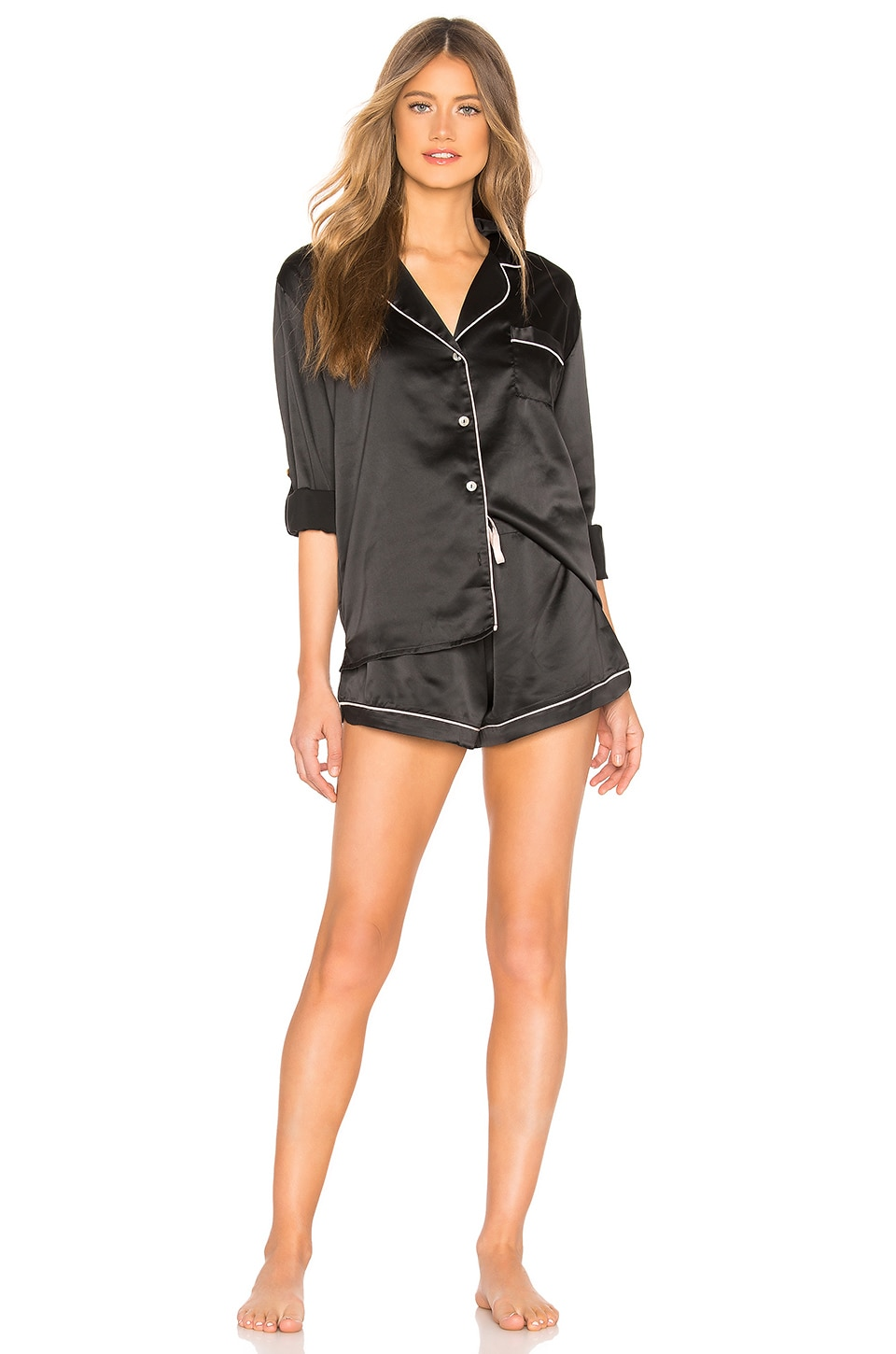 homebodii Long Piping Pajama Set in Black