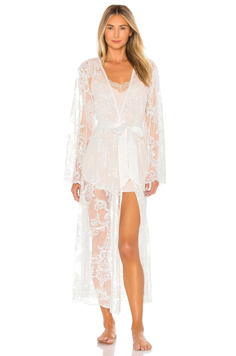 homebodii Madeleine Long Lace Robe in White