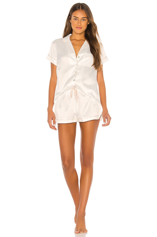 homebodii Grace Piping Pyjama Set in White