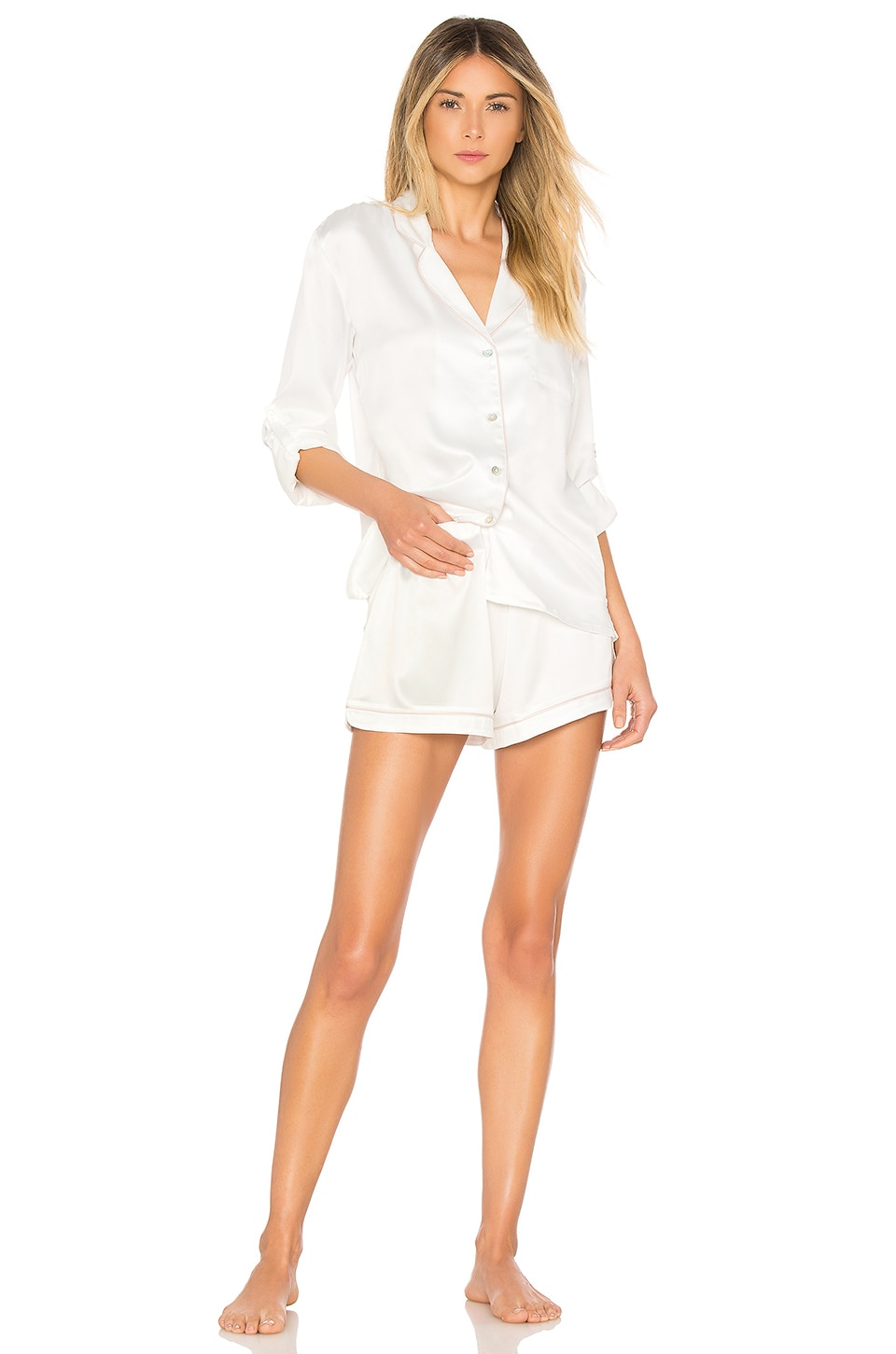 homebodii Long Sleeve Piping PJ Set in Ivory