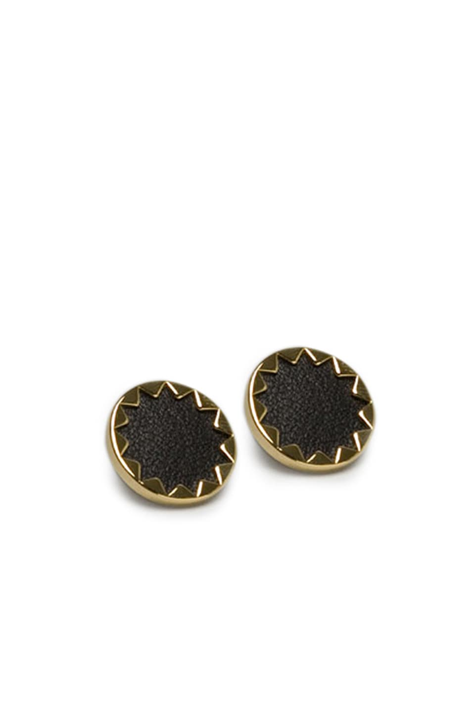 House of Harlow 1960 House of Harlow Sunburst Button Earrings with Black Leather in Gold