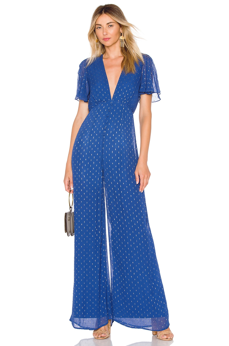 House of Harlow 1960 x REVOLVE Marcel Jumpsuit in Navy & Gold Dot