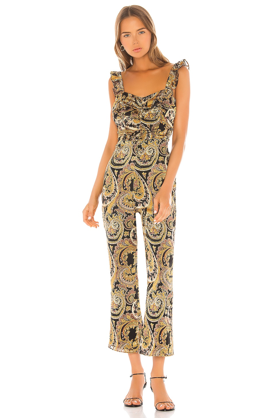 House of Harlow 1960 X REVOLVE Samaya Jumpsuit in Black & Gold Paisley