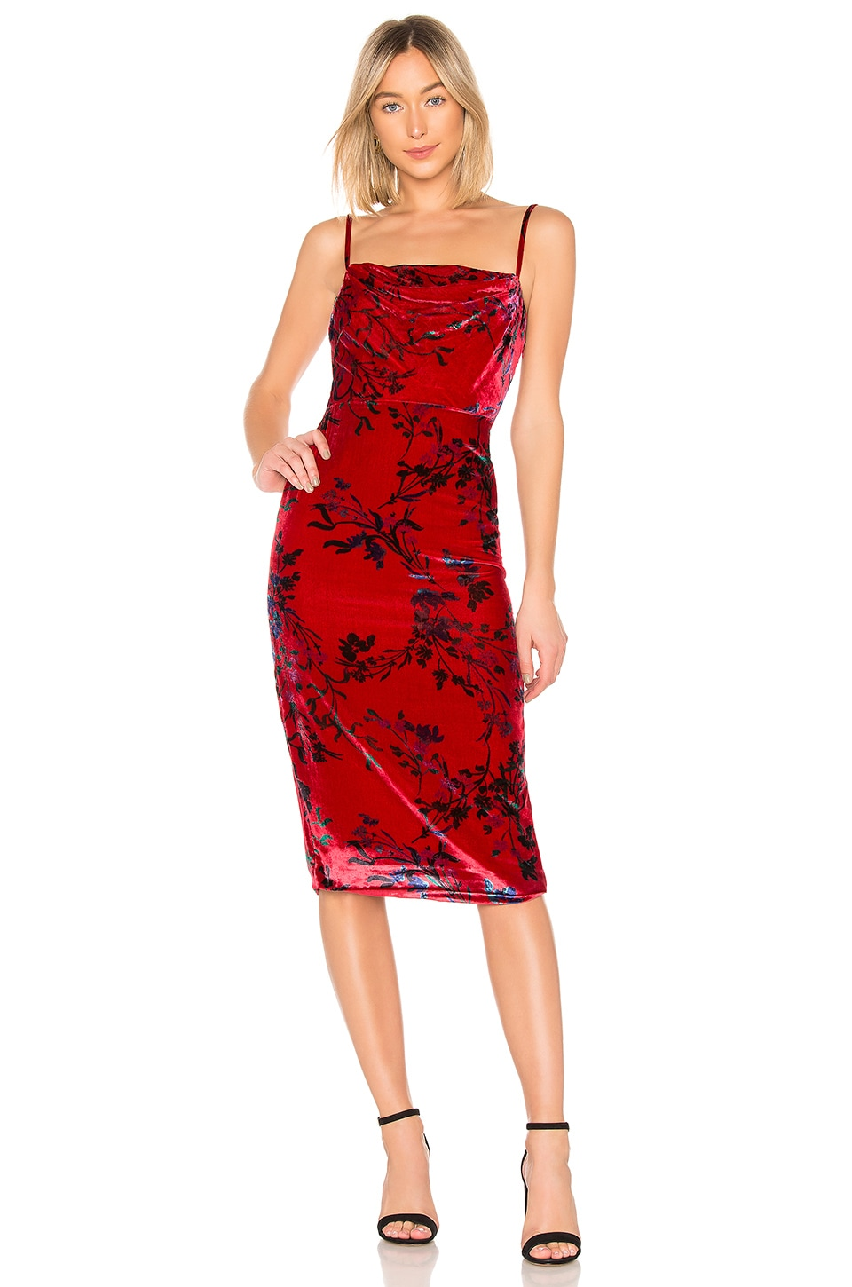 House of Harlow 1960 x REVOLVE Ira Midi Dress in Red Fleur