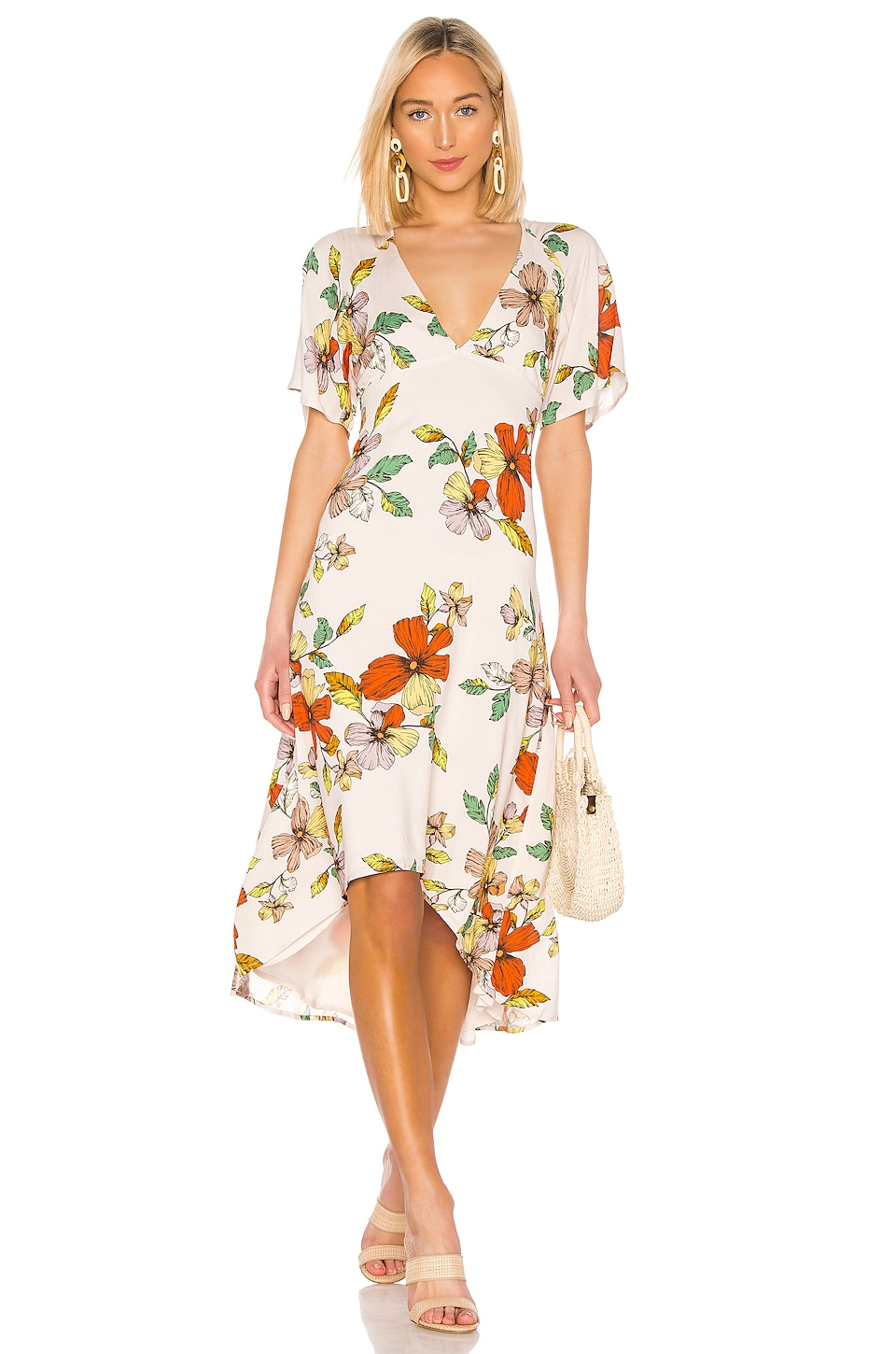House of Harlow 1960 VESTIDO MIDI FLORES ALONZA