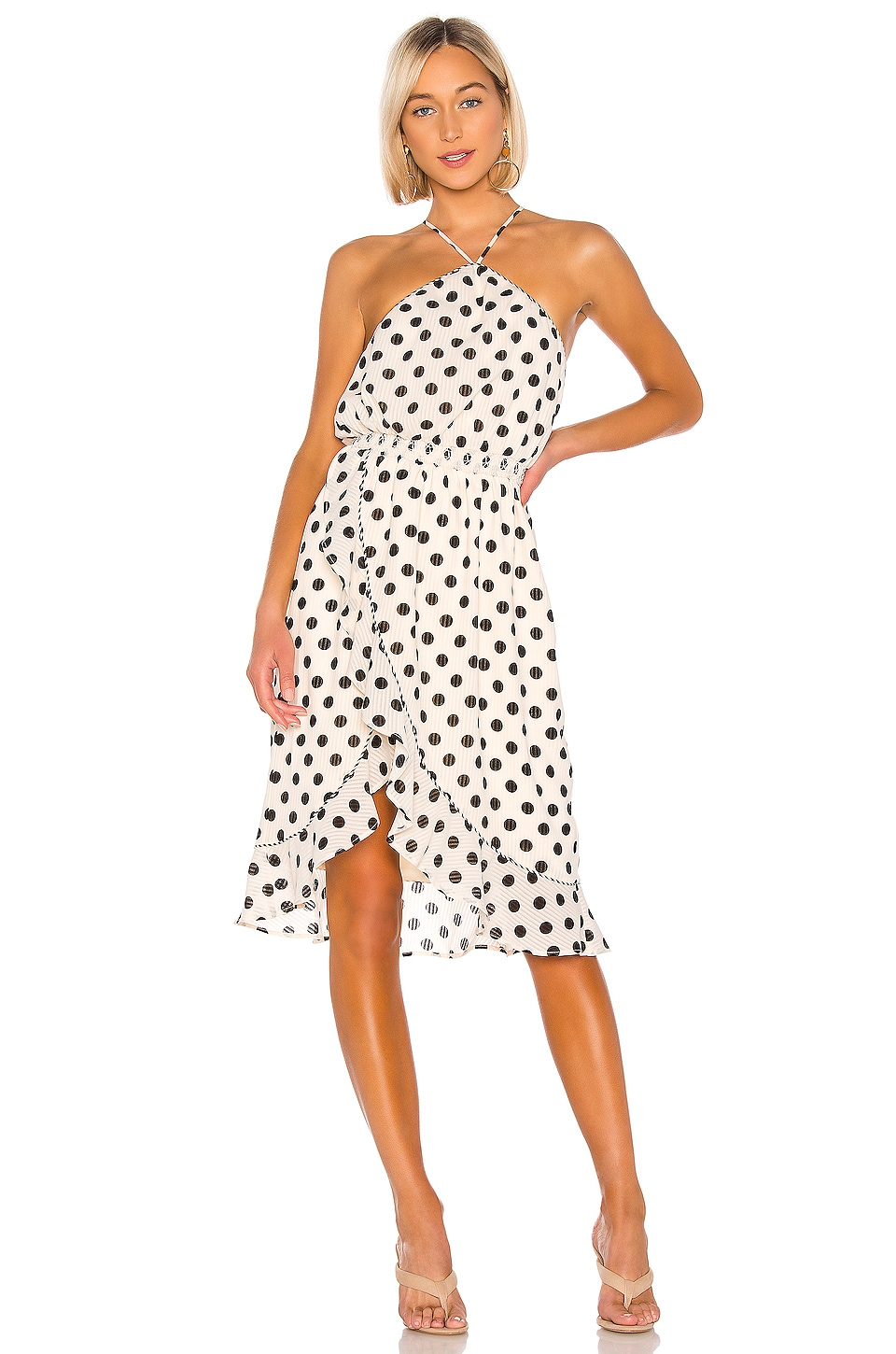 House of Harlow 1960 X REVOLVE Baye Midi Dress in Ivory & Black Dot
