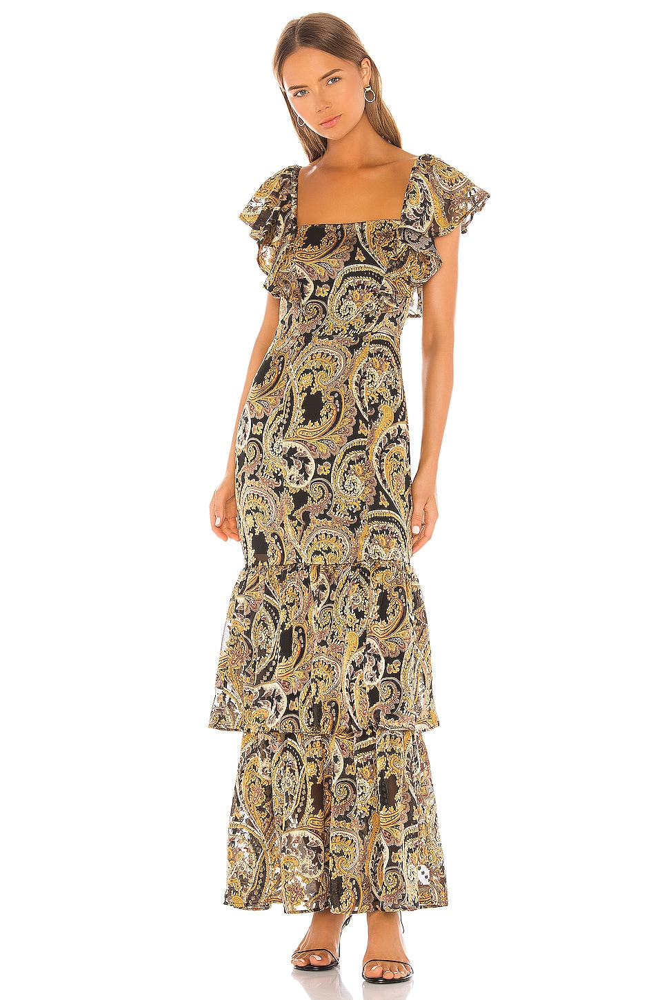 House of Harlow 1960 X REVOLVE Daya Maxi Dress in Black & Gold Paisley