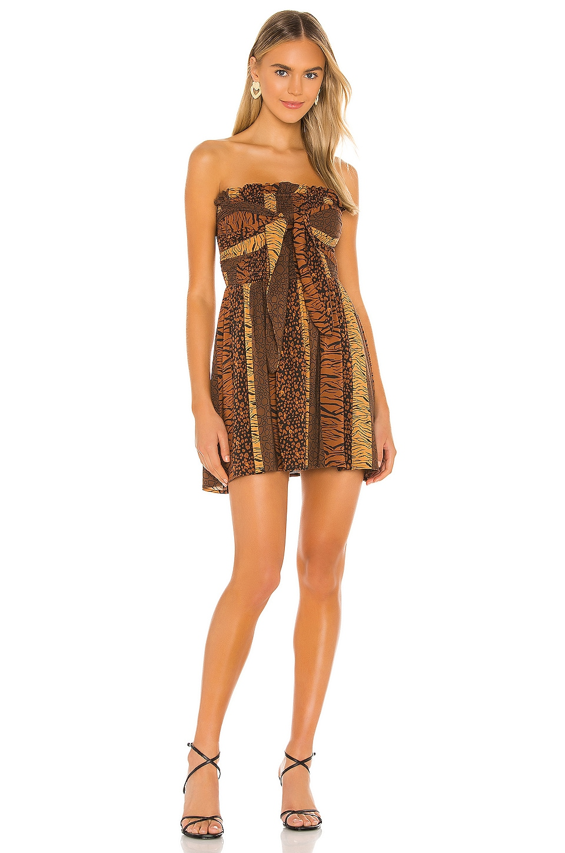 House of Harlow 1960 x REVOLVE Neela Mini Dress in Brown Animal Stripe