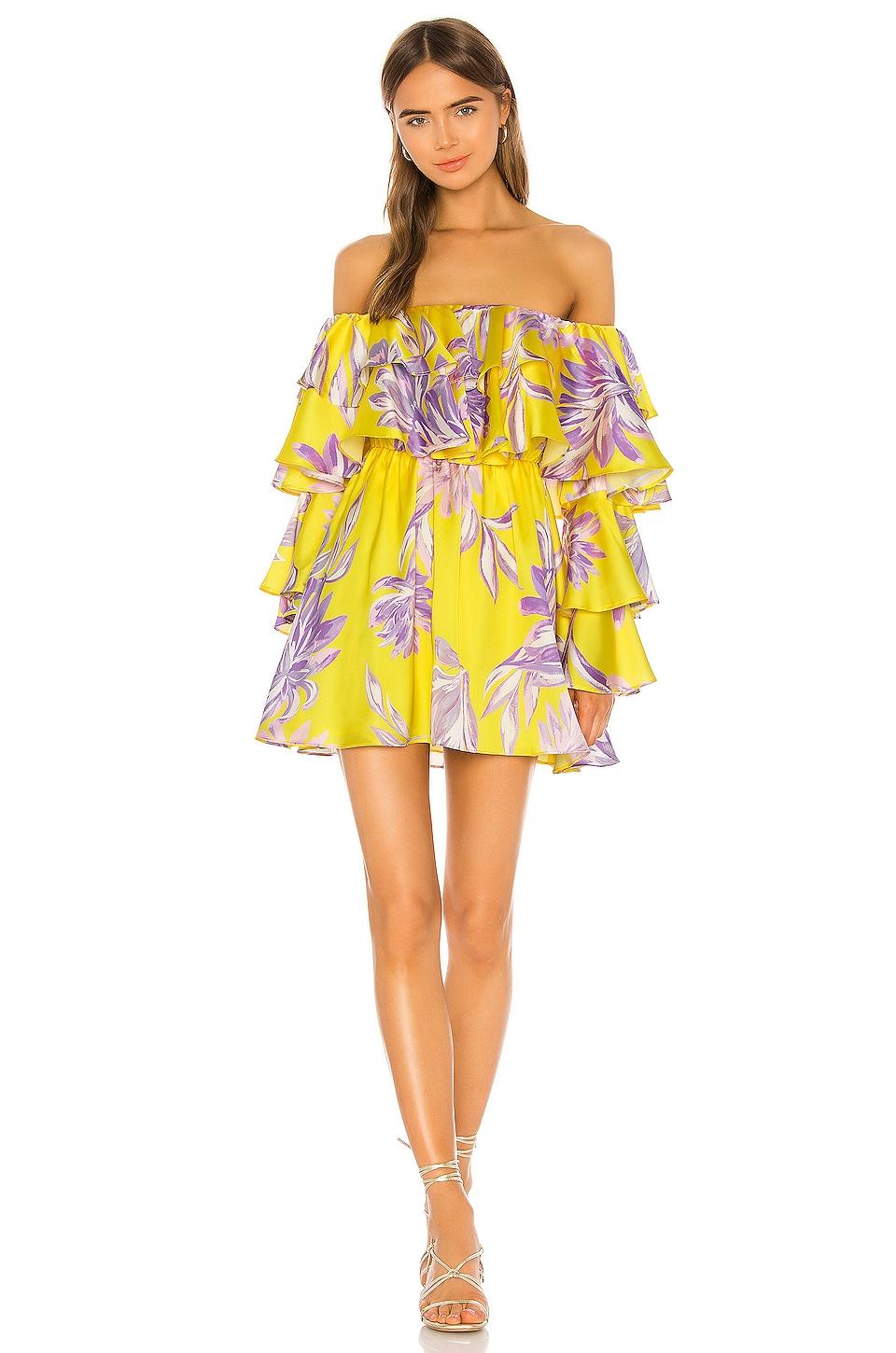 House of Harlow 1960 x REVOLVE Julita Mini Dress in Yellow Dahlia Floral
