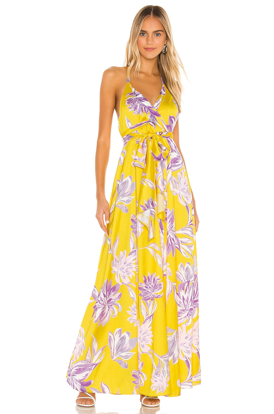 House of Harlow 1960 x REVOLVE Bloom Dress in Yellow Dahlia Floral