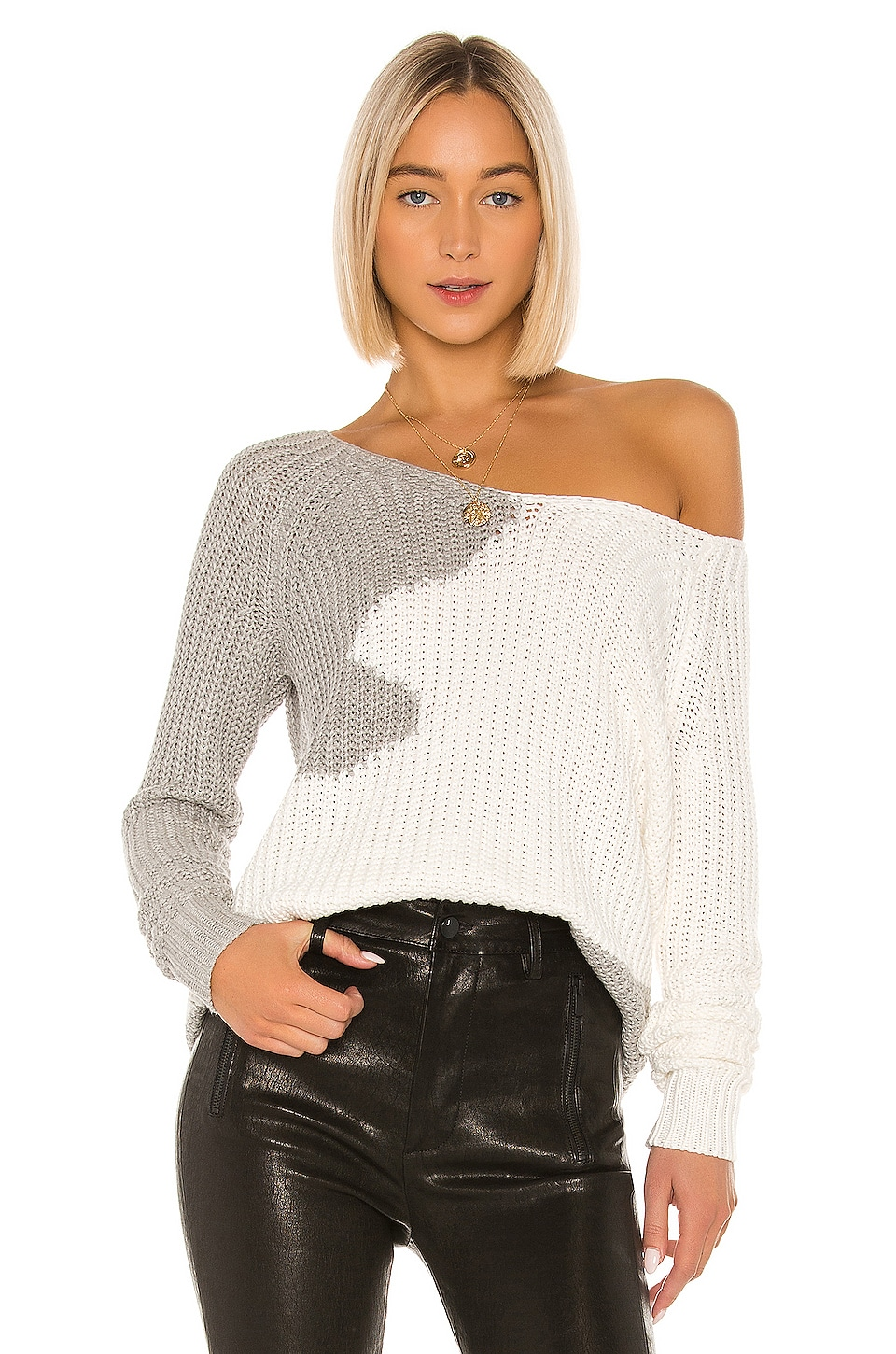 House of Harlow 1960 x REVOLVE Adrienne Pullover in White & Grey