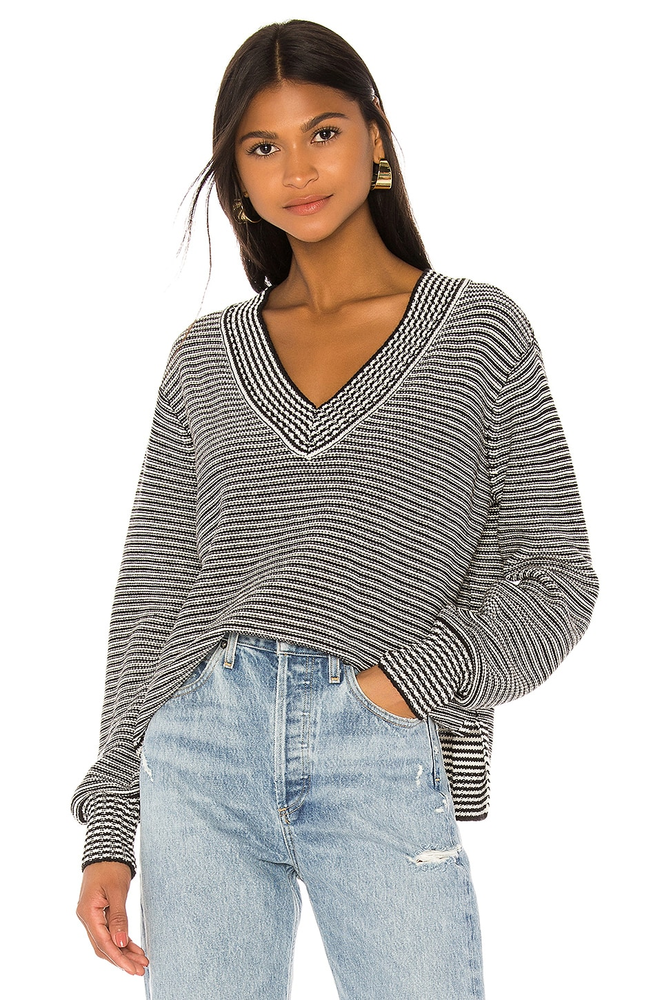 House of Harlow 1960 x REVOLVE Shaun Sweater in Black & White Stripe