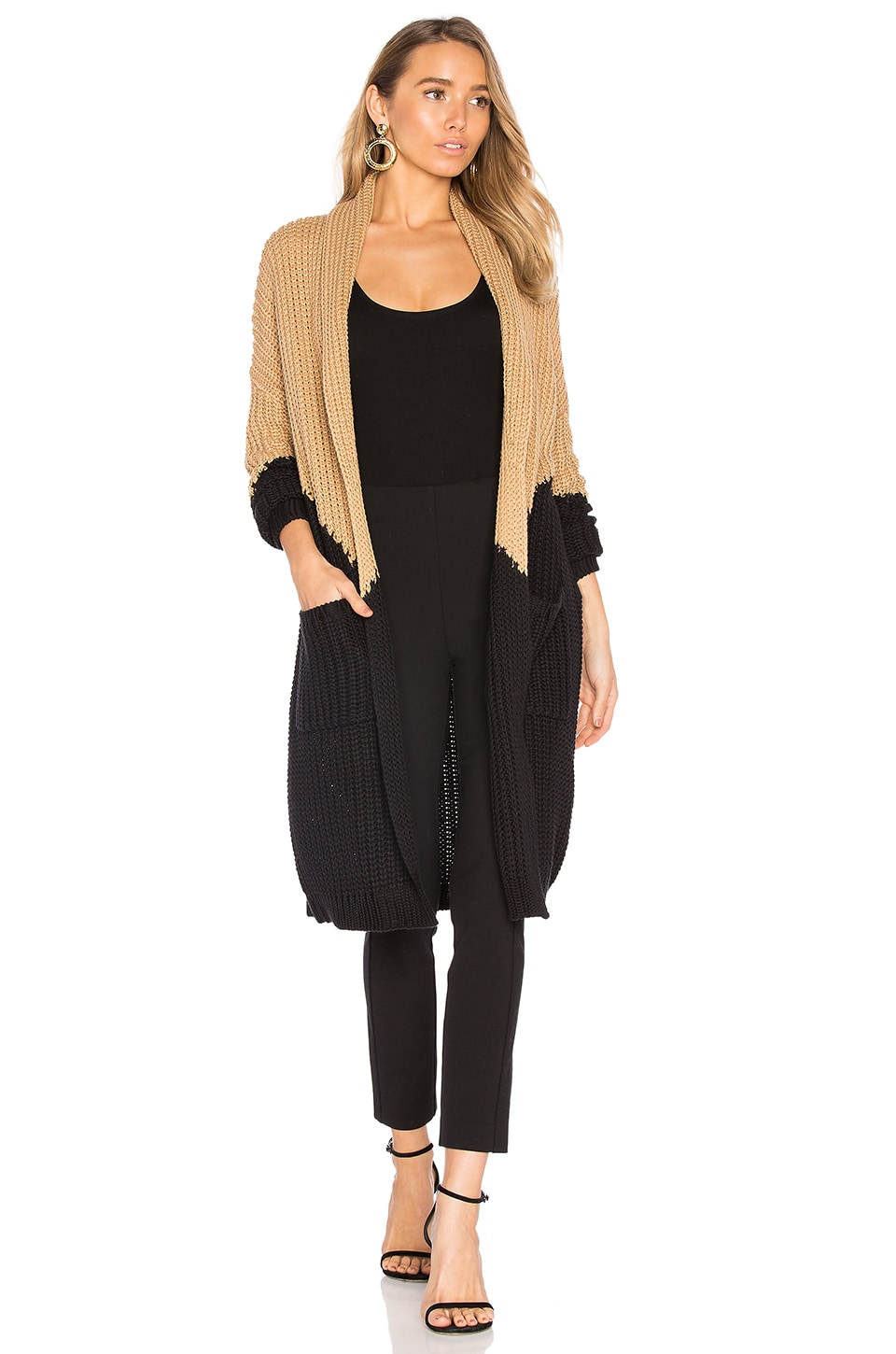 House of Harlow 1960 x REVOLVE Lucelle Cardigan in Black & Camel