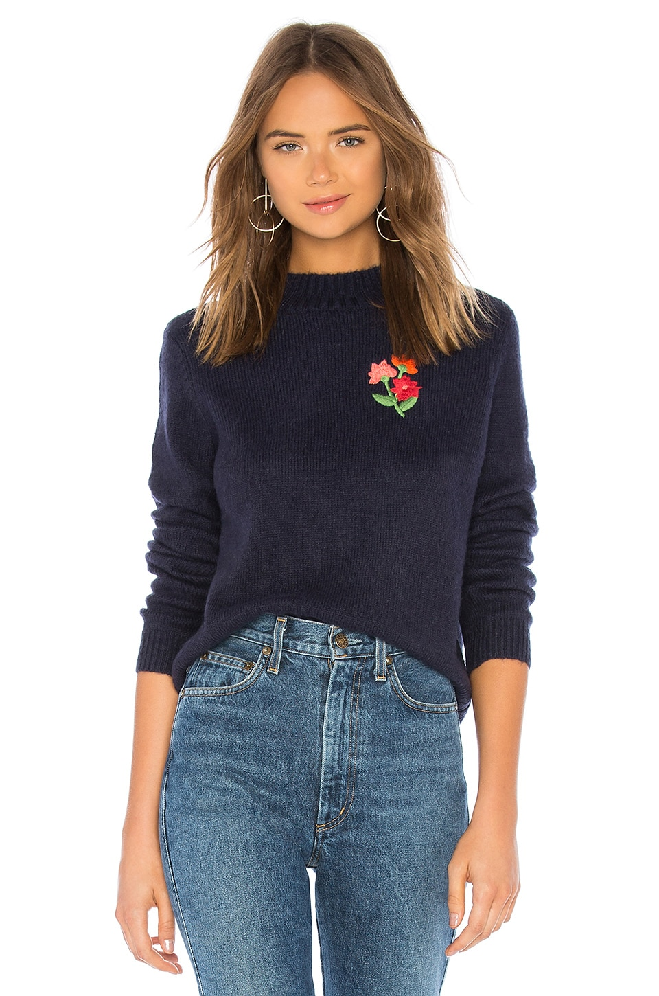 House of Harlow 1960 FLORAL EMBROIDERED SWEATER 스웨터