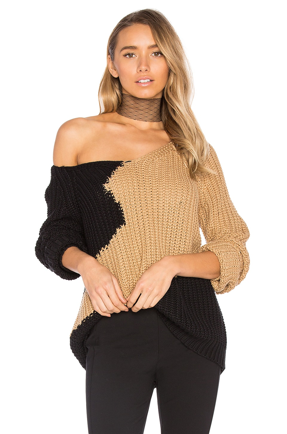 House of Harlow 1960 x REVOLVE Adrienne Pullover in Black & Camel