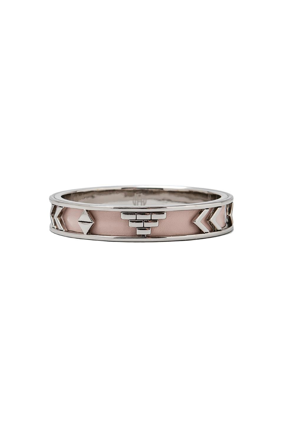 House of Harlow Aztec Bangles in Palladium with Blush Leather