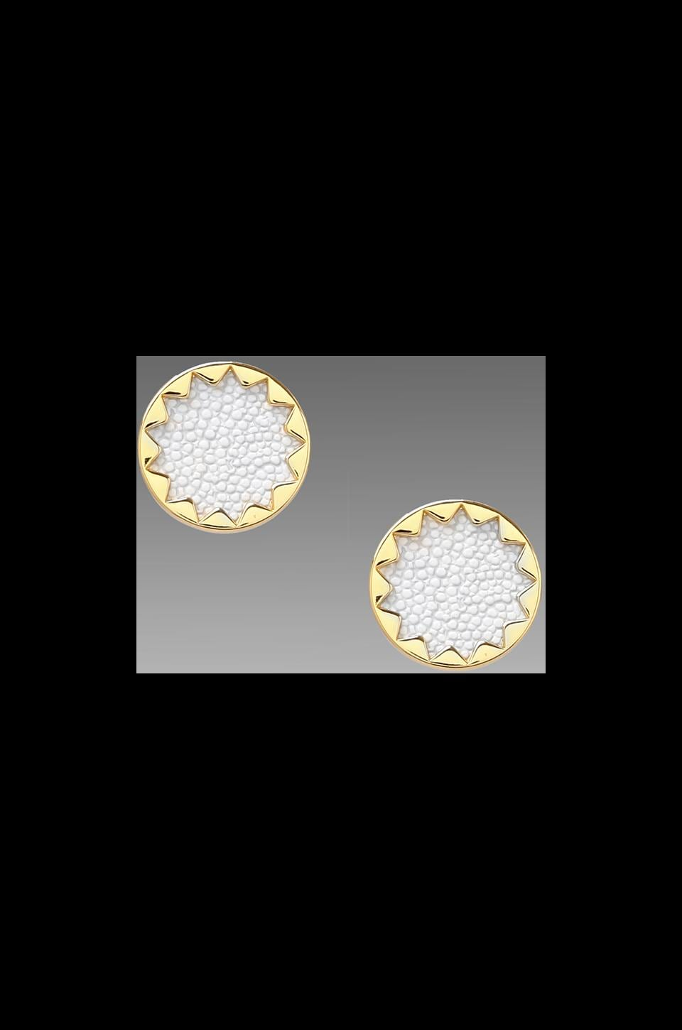 House of Harlow 1960 House of Harlow White Sand Sunburst Studs in Sting Ray