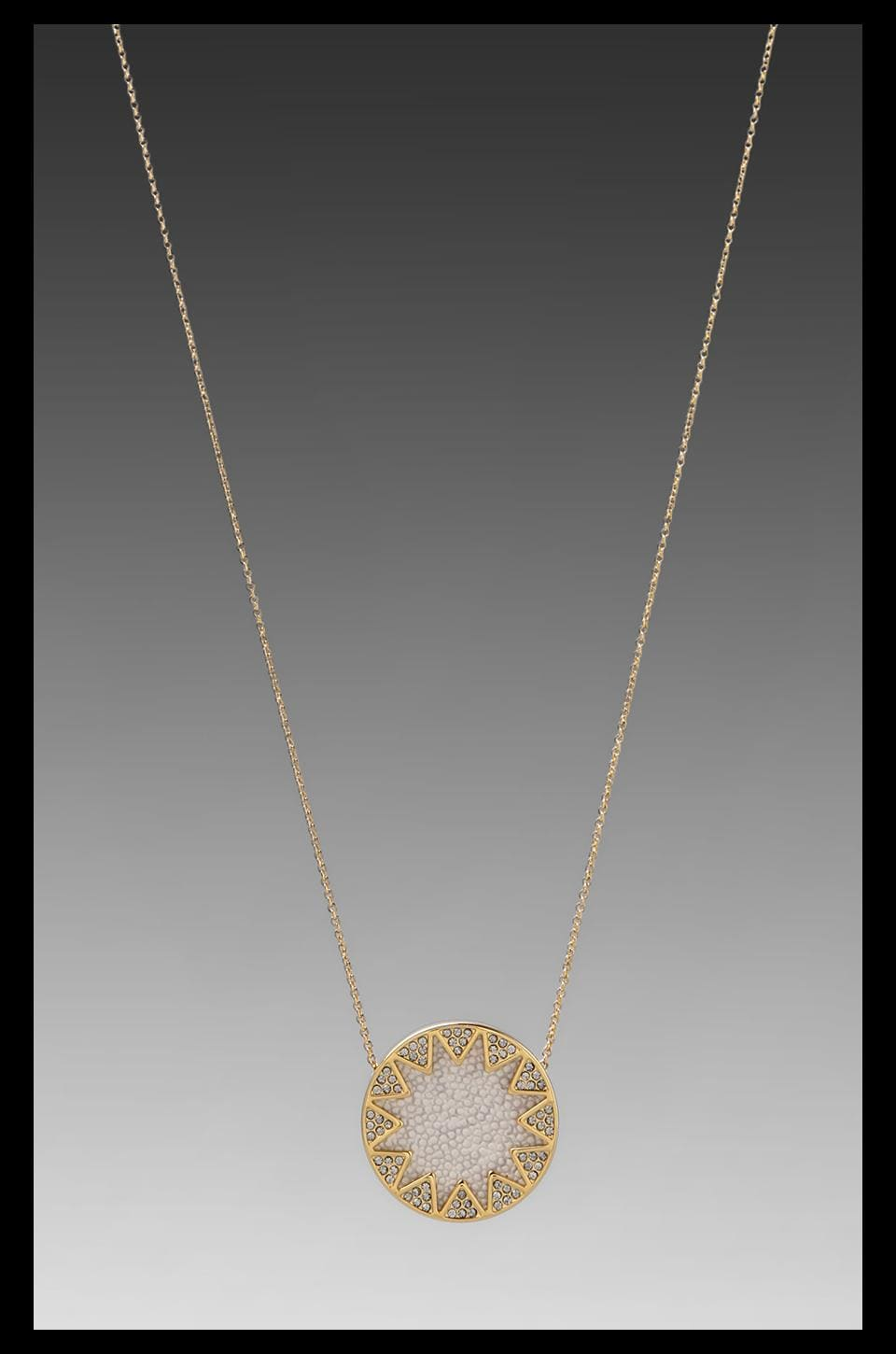 House of Harlow White Sand Sunburst Station Necklace in Sting Ray Pave