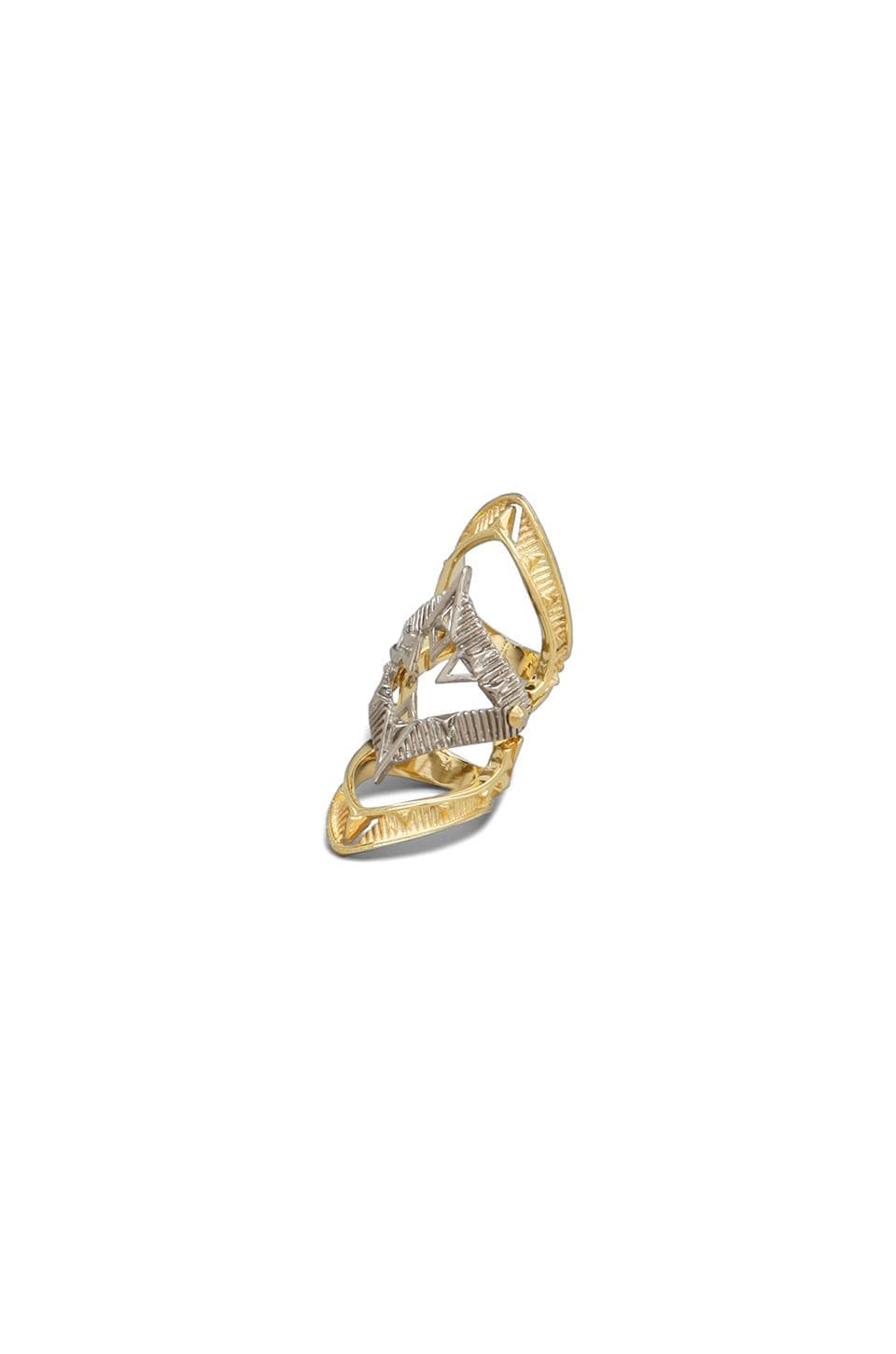 House of Harlow 1960 House of Harlow Moroccan Goum Armour Ring in Gold/Silver