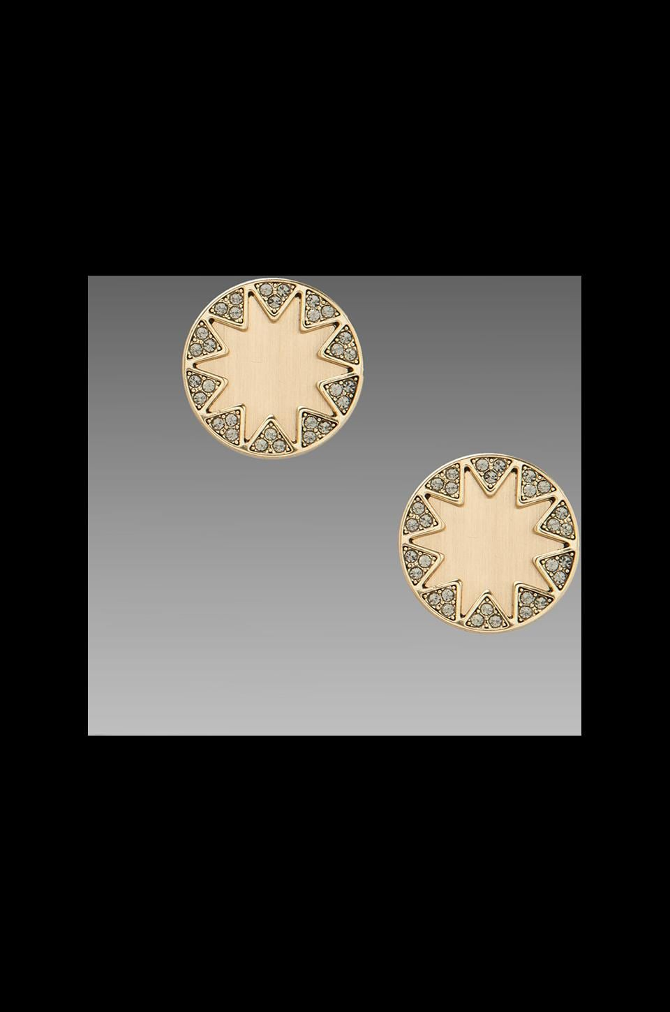 House of Harlow 1960 House of Harlow Earth Metal Sunburst Earrings in Gold/Black Pave