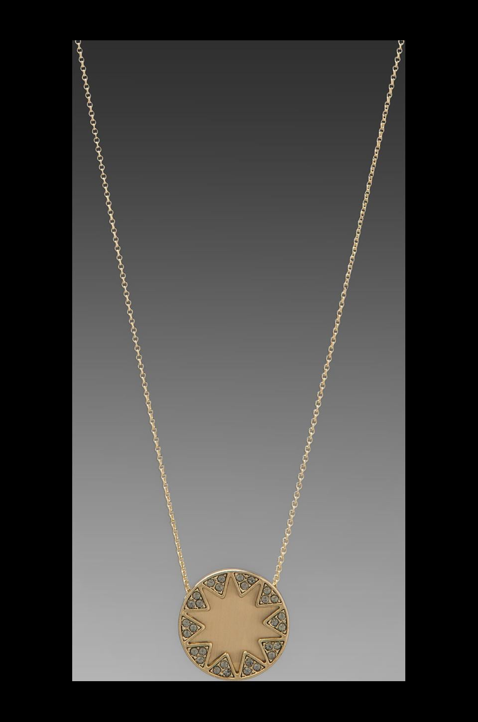 House of Harlow Earth Metal Sunburst Station Necklace in Gold/Pave