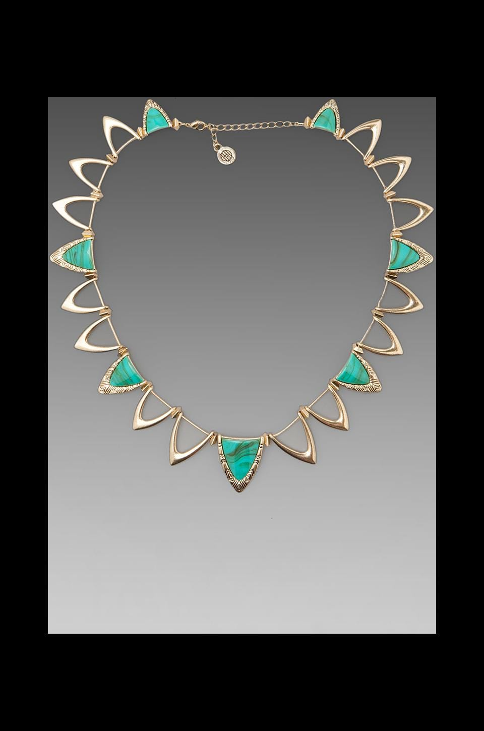 House of Harlow 1960 House of Harlow Goddess Trinity Collar Necklace in Gold/Turquoise