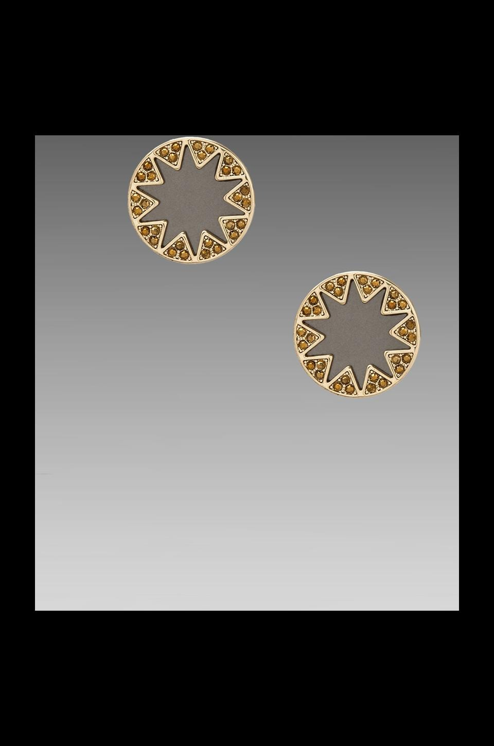 House of Harlow Earth Metal Sunburst Stud Earrings in Gold/Black