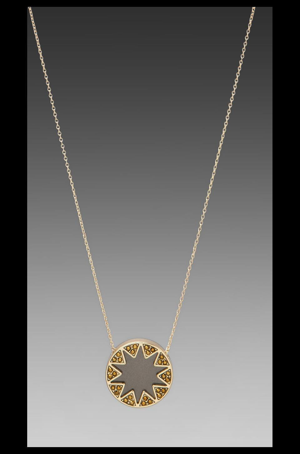 House of Harlow 1960 House of Harlow Earth Metal Sunburst Station Necklace in Gold/Black