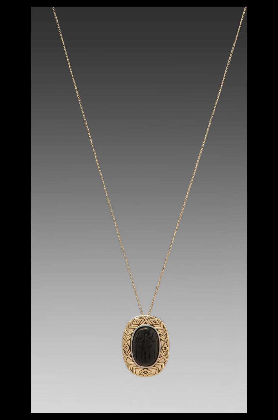 House of Harlow 1960 House of Harlow Heart Scarab Necklace in Black Onyx