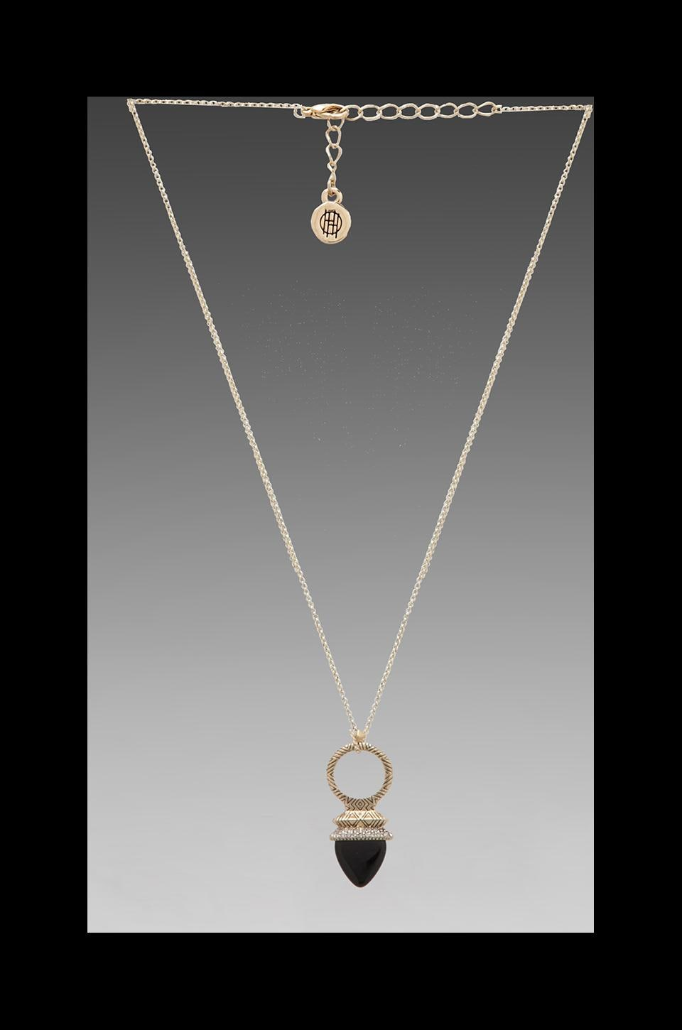 House of Harlow Plectra Pendant Necklace in Gold/Black Onyx