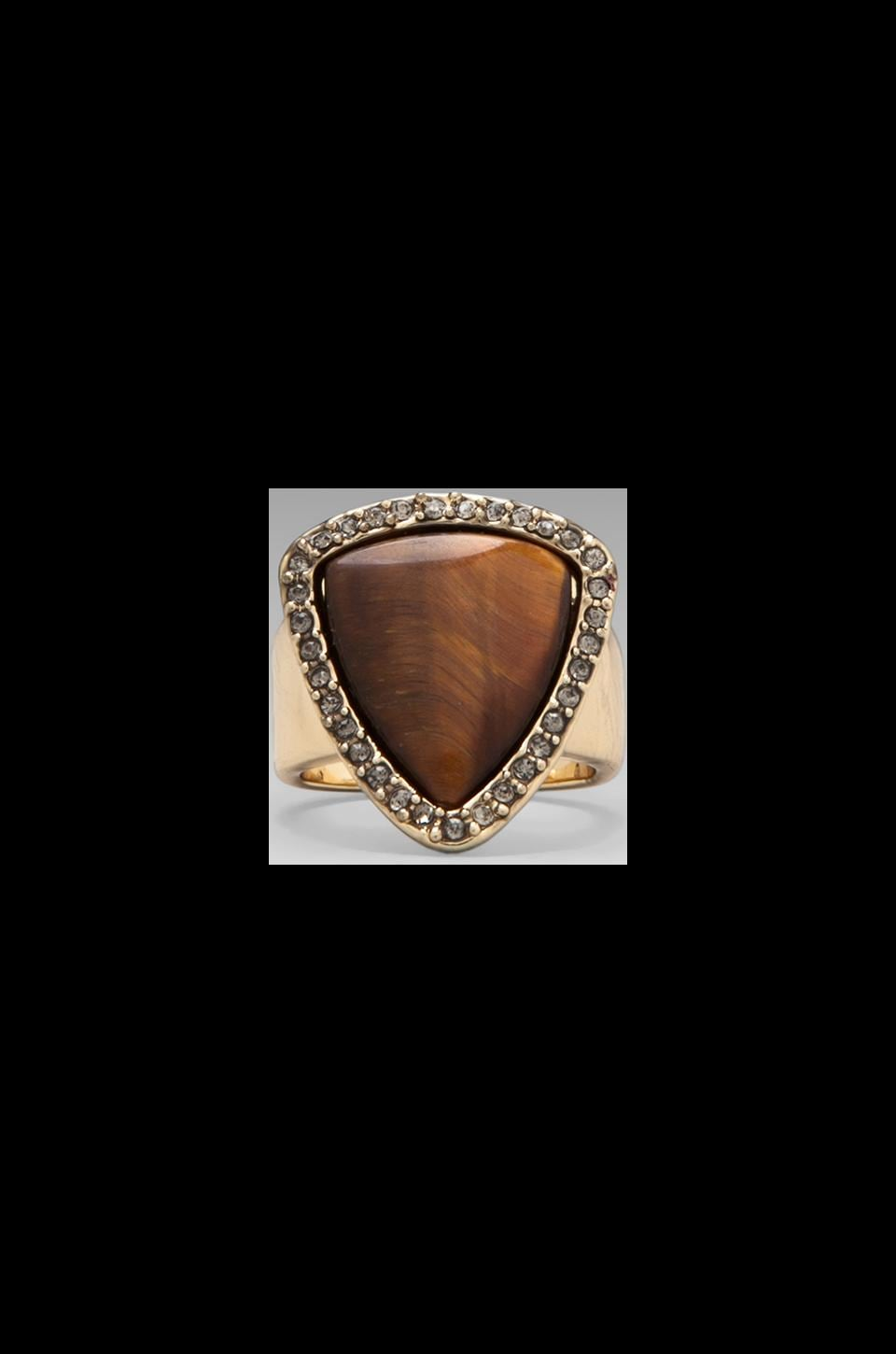 House of Harlow Band Ring in Gold/Tiger's Eye