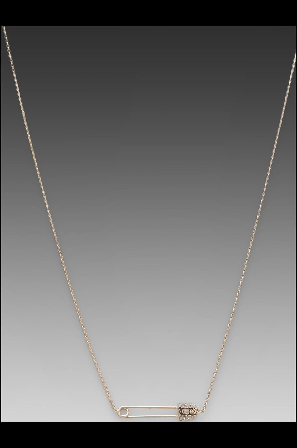 House of Harlow Petite Safety Pin Necklace in Gold