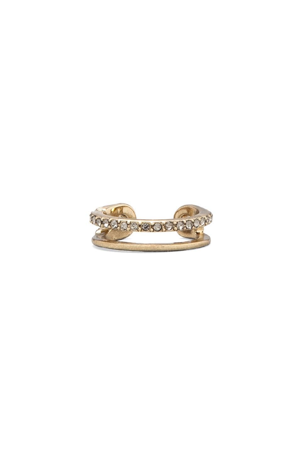 House of Harlow 1960 House of Harlow Pave Safety Pin Wrap Ring in Gold