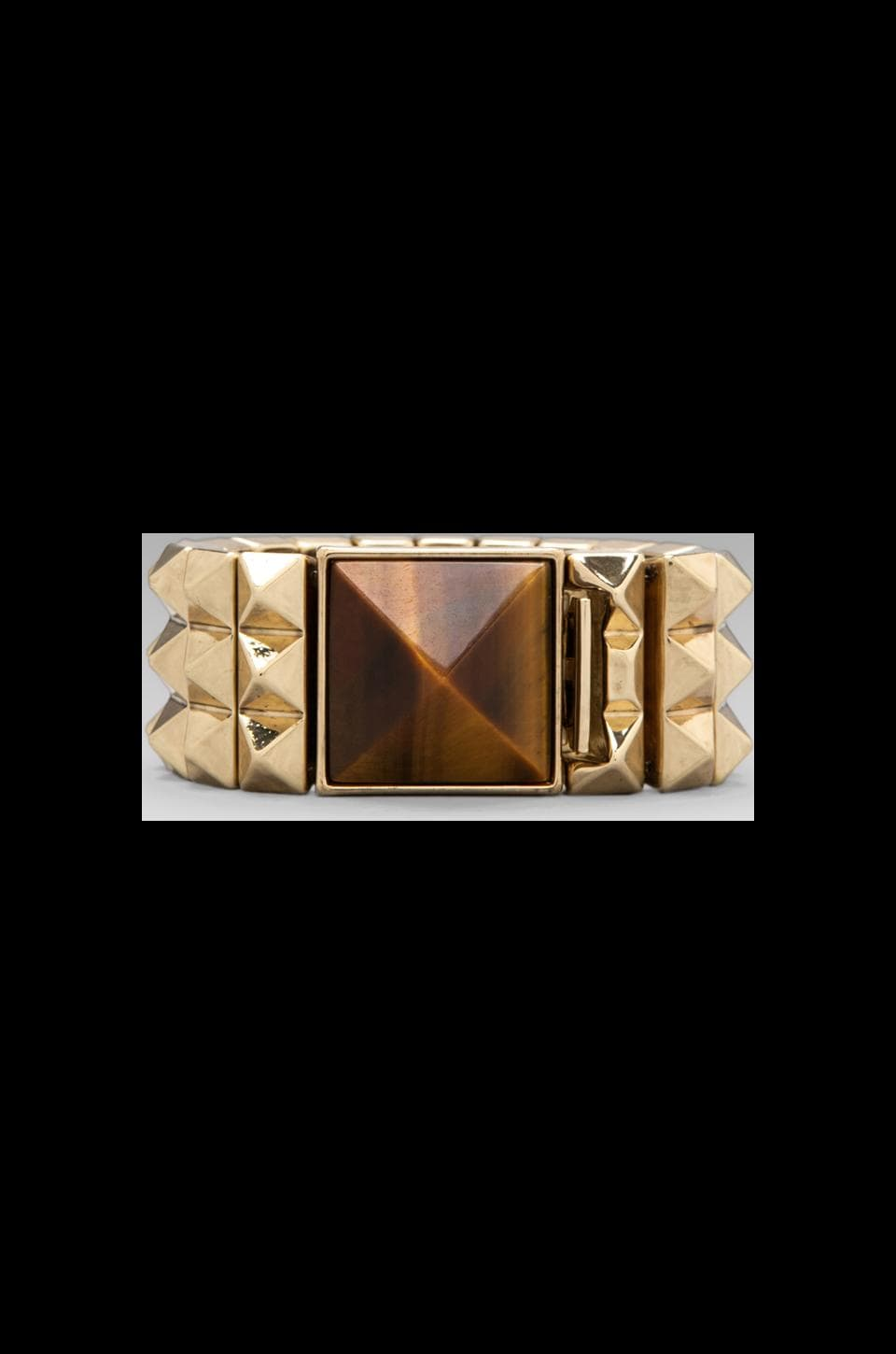House of Harlow 1960 House of Harlow Pyramid Bracelet in Gold/Tiger's Eye