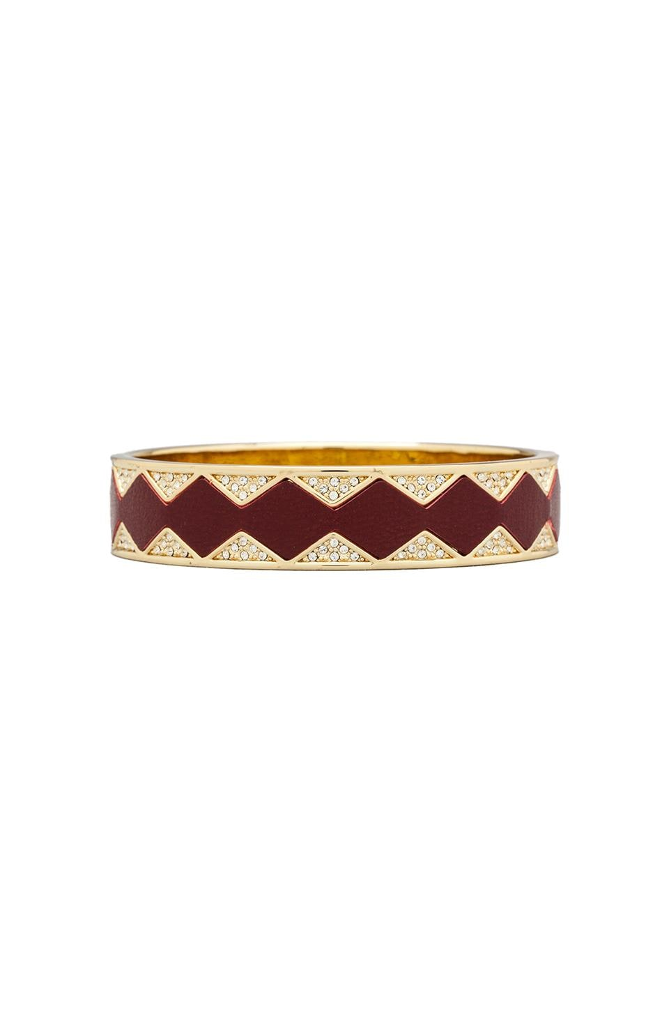 House of Harlow Sunburst Bangle in Gold Tone Cranberry