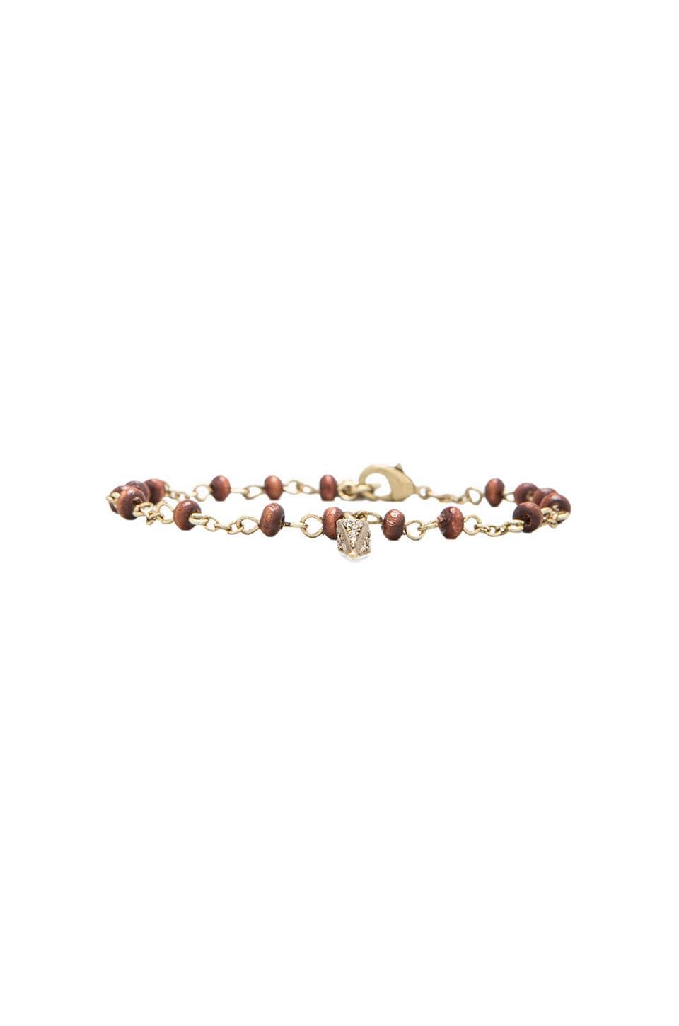 House of Harlow Wooden Kharma Bead Bracelet in Gold