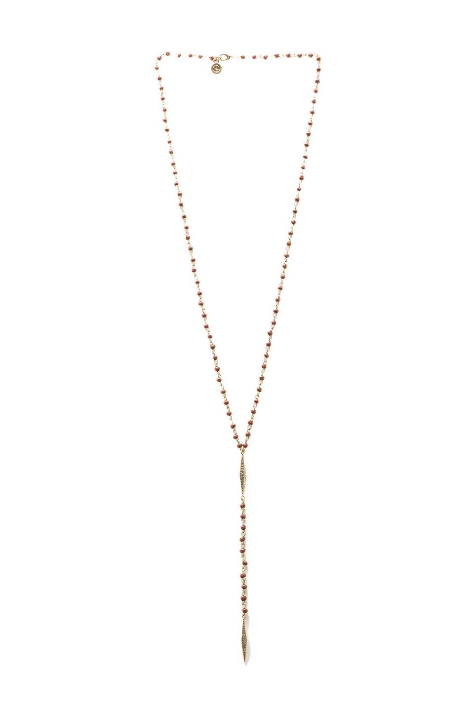 House of Harlow Wooden Kharma Bead Necklace in Gold