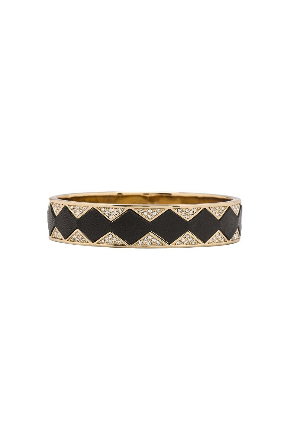 House of Harlow Sunburst Bangle in Gold Tone Sunburst with Black