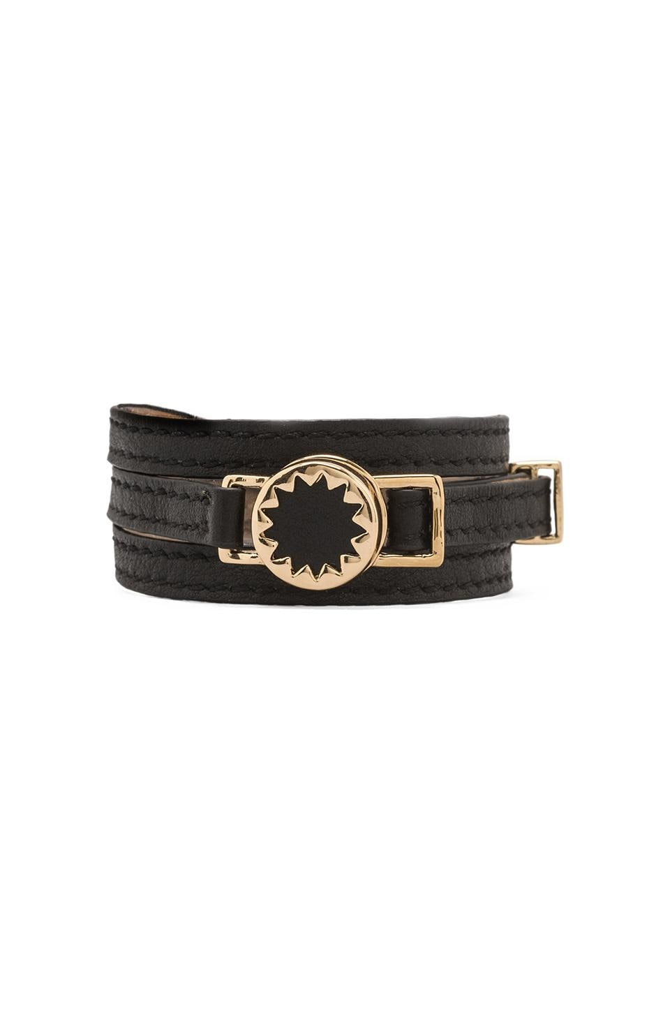 House of Harlow Sunburst Wrap Bracelet in Gold Tone Sunburst with Black