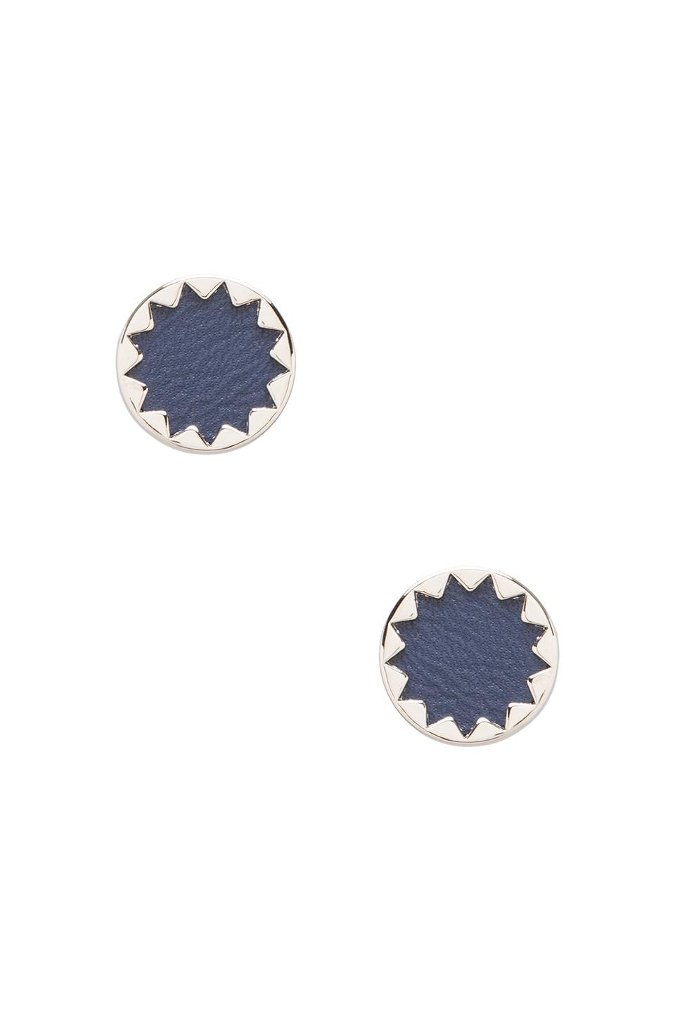 House of Harlow Sunburst Button Earrings Leather in Silver Tone Navy